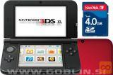 Nintendo 3DS XL rdeč + spominska kartica 4GB + napajalnik