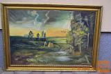 SLIKA NARAVA 110 X 80 cm olje na platnu Kremžar 1972